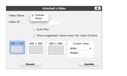 Add YouTube or Vimeo Videos